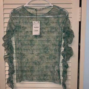 Zara sheer blouse size small